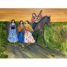 """Большая картина маслом """" Цыгане в поле """" , холст 120 см * 100 см , оригинальная живопись , картина в интерьер"""