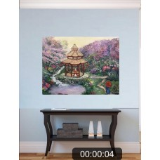 """Картина Маслом """" Волшебная Япония """" , пейзаж , цветение сакуры , азиатский стиль"""