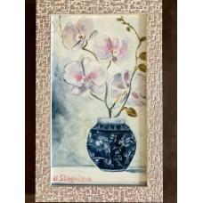 Оригинальная Картина маслом «Нежность орхидеи» на холсте *Размер : 20*35 см  , цветы, картина в раме