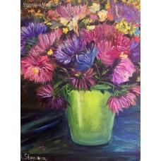 """Картина маслом """" Астры """" на холсте 35 *45  см  , авторская работа , современная живопись , цветы маслом"""