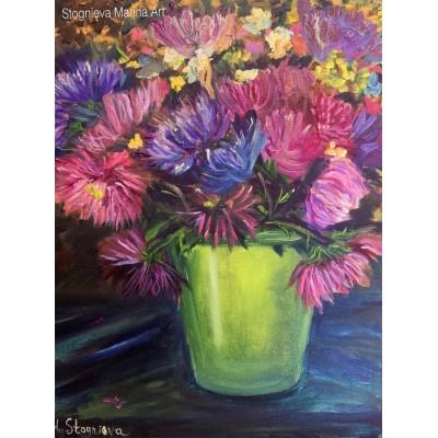 Авторская картина маслом - цветы Астры