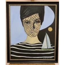 """Оригинальная картина маслом """" Волны мыслей"""" на холсте размер : 50*60см , в раме , авторская живопись , участвовала в выставках , оригинальный сюжет"""