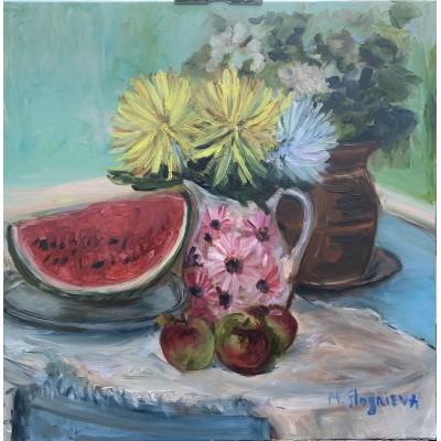 Купить картину маслом  - натюрморт из яблок и арбуза , цветы