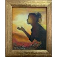"""""""Дыхание солнцем """"Картина маслом 20*25  см  , в раме ,  йога , эзотерика"""