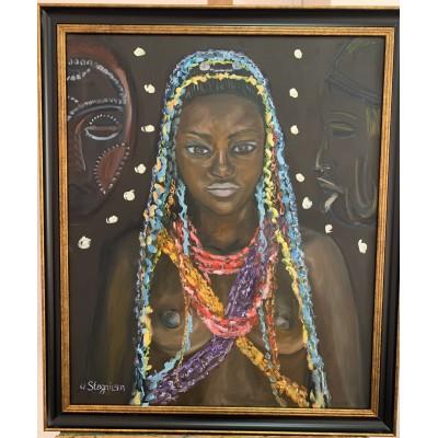 Купить картину маслом - портрет африканки  в раме