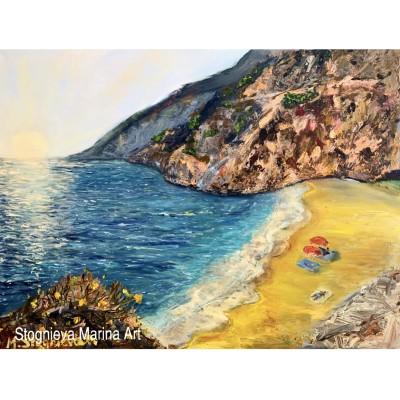 купить живопись - картина маслом морской пейзаж , побережье ,  морской берег