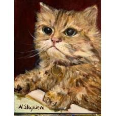"""Картина маслом """" Кот Марс """" из серии работ """" Созвездие котов """" , живопись , авторская работа , картина маслом на холсте"""