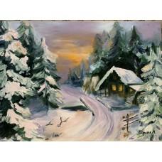 """оригинальная Картина маслом на холсте - """" Зима"""" , Размер: 50*70 см"""