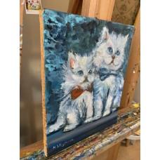 Картина Маслом « Котята» на холсте *Размер : 20*24 см , оригинал. Живопись художницы Стогниевой Марины.