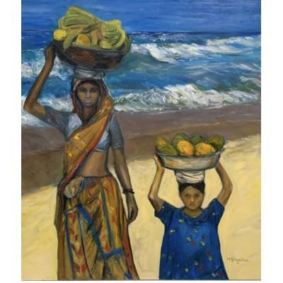 Африканские женщины  , картина маслом на холсте - купить