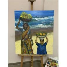 Большая Картина маслом + акрил на холсте ,с Изображением двух африканок на морском побережье , оригинал Размер :70*80 см