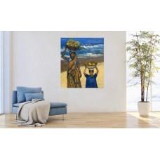 Большая Картина маслом + акрил на холсте ,с Изображением двух африканок на морском побережье , оригинал