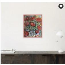 """Оригинальная Картина  маслом на холсте Размер :40*50 см """" Розы и золотая рыбка """", в красной раме  Оригинал! Художница Стогниева Марина"""
