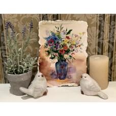"""Оригинал Акварели на французской бумаге """" Цветы в вазе """" , красивое дополнение в декор вашего дома"""