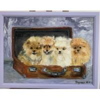 """Оригинальная Картина маслом на холсте 45*60 см """" В Париж готовы !"""" в раме , собачки, померанские шпицы"""
