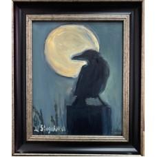 """Оригинальная Картина маслом """"Ворон в полнолуние на холсте , в раме """" , 20*25 cм  мистический сюжет , птицы , небольшие картины ,бесплатная доставка"""