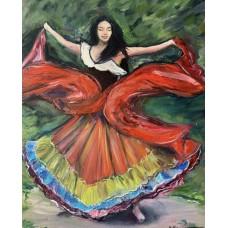 """Оригинал картины маслом  на холсте """" Танцующая цыганка"""" 35 * 45 см"""