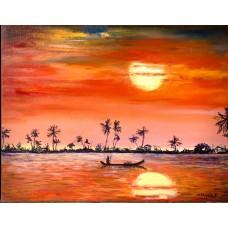 Оригинальная Картина маслом на холсте 35*45  см  Закат в Индии , красивая интерьерная живопись , море , каноэ
