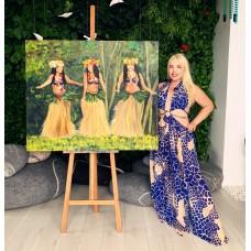 Оригинальная  Картина Маслом на холсте  Размер : 120*100 см «Танцующие  Таитянки», современная Живопись , экзотическая тематика