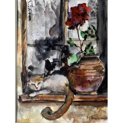 Купить акварель- картина кот и цветы
