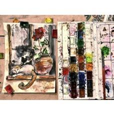 Кот на окошке, акварель , оригинал ,живопись, одесский дворик , 18 * 24 см