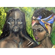 Африканская пара , картина маслом на холсте, оригинал , размер 70* 100 см