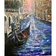 Венеция, оригинал живописи акрилом  на холсте, художницей Мариной Стогниевой, размер 105*120 см .Италия, гондльер,веницианский канал