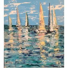 Море, яхты, абстракция, Оригинальная картина  на холсте, размер 75*95 см