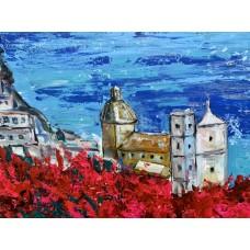 Италия, Позитано . Оригинальная картина , современное искусство,  акрил на холсте 105*120  cm