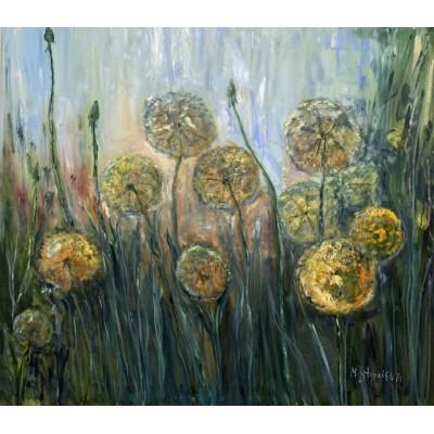 Одуванчики, оригинал картины маслом на холсте 60*80см, Полевые цветы, интерьерная живопись