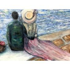 Оригинальная Картина маслом на холсте  - Размер : 70*80 см  «Весна в Париже», в раме