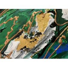 Интерьерная картина акрилом , оригинал , размер : 60 * 80 см, абстракция в зелёных цветах .