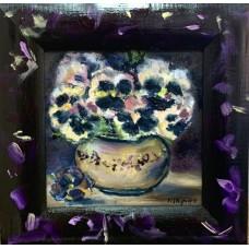 Оригинальная живопись, картина маслом  15*15 см , цветы Анютины глазки , в декоративной раме