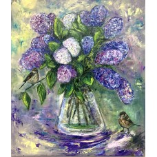 "Картина маслом "" Сирень и воробушки"", оригинал , на холсте , размер 70 * 80 cm"