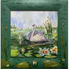 Оригинальная картина Маслом « Лебеди в пруду с кувшинками», холст 20*20 см , красивая живопись , Любови и верность