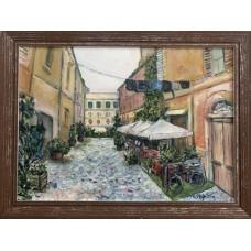 "Оригинал, картина маслом на холсте "" Улочка старого города"" , Рим  Трастевере , Размер : 25*35см"