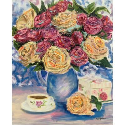 """Оригинальная Картина маслом """" Аромат Роз"""" на холсте *Размер : 50*60 см ,"""