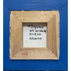 Оригинальная картина маслом , розочки в маленькой вазе , обрамленf в деревянную раму - авторского дизайна и росписи