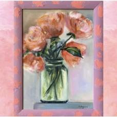 Оригинальная картина маслом на холсте 35 * 45 См  букет цветов - пионы , рама из сосны расписанная в ручную идет в подарок