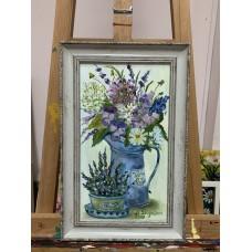 оригинальная Картина маслом в раме « Прованские цветы» на холсте 20*35 см