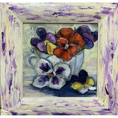 Купить картину маслом на холсте у художника  - цветы анютины глазки