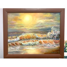 Оригинальная картина маслом на холсте  40 * 50 cm  , Золотой закат в Индийском океане , в раме