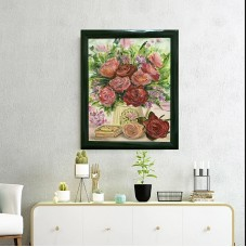 Оригинальная картина маслом на холсте , розы в прованском стиле , цветы в поливалочке , красивые букет , Картина в раме , 40 * 50 см