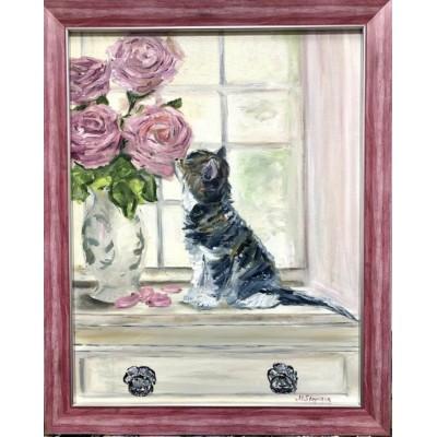 """Оригинальная картина маслом на холсте  """" Кот и Розы """" 35*45  см"""