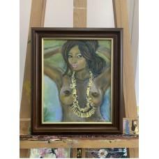 Оригинал картина маслом на холсте 20*24 обнаженная девушка , ню , девушка топлес , в раме