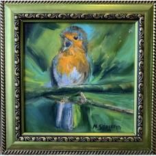 Оригинальная картина маслом на холсте 15 * 15 cm , в  раме , птичка на ветке