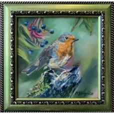 Оригинальная картина маслом на холсте 15 * 15 cm , в  раме ,  маленькая птичка в  саду