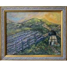 """Оригинальная картина на холсте 20*25 см , в раме """" Ароматы летнего Прованса , французский пейзаж"""