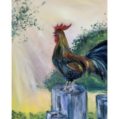 Оригинальная картина маслом на холсте 35  * 45 см ,  Петух н а рассвете , живопись