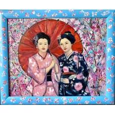 Оригинальная Картина маслом на холсте 40*50 см , Гейши в цветущем саду сакуры
